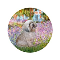 "Garden / Lhasa Apso 3.5"" Button"