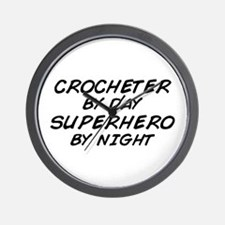 Crochet Superhero by Night Wall Clock