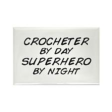 Crochet Superhero by Night Rectangle Magnet