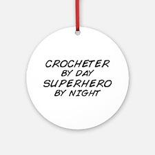 Crochet Superhero by Night Ornament (Round)