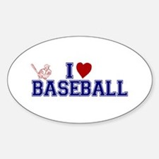 I Love Baseball Oval Decal