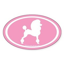 Fancy Poodle Oval (white on pink) Oval Decal