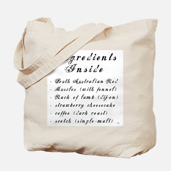 Inside Ingredients Tote Bag