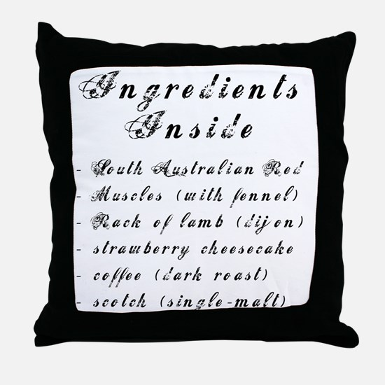 Inside Ingredients Throw Pillow