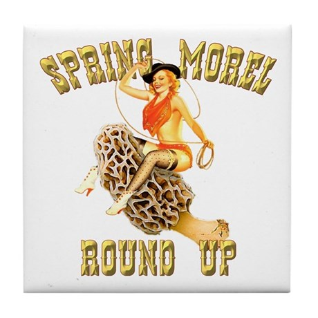 spring morel round up Tile Coaster
