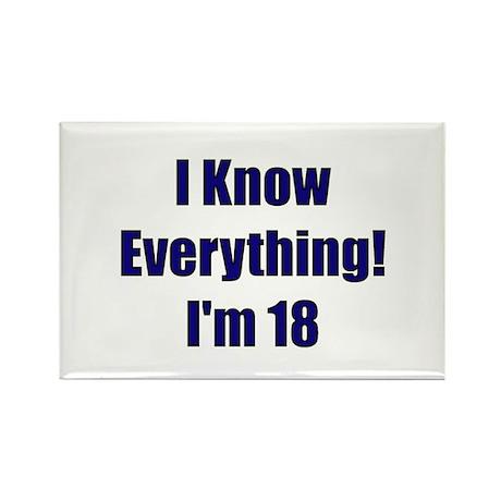 I Know Everything I'm 18 Rectangle Magnet