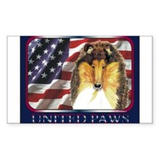 Collie Dog Patriotic US Flag Rectangle Decal
