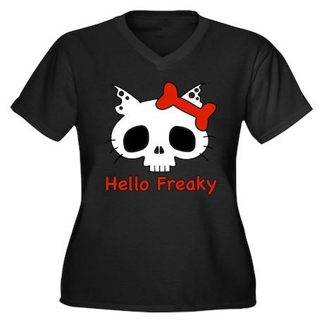 Hello Freaky red Women's Plus Size V-Neck Dark T-S