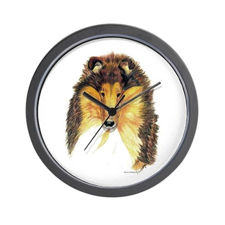 Collie Dog Portrait Wall Clock