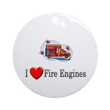 I Love Fire Engines Ornament (Round)