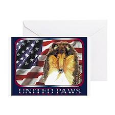 Collie Dog Patriotic USA Flag Greeting Cards(6)