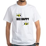 BEE HAPPY White T-Shirt/NOTHING ON BACK
