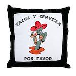 Tacos y Cerveza Throw Pillow