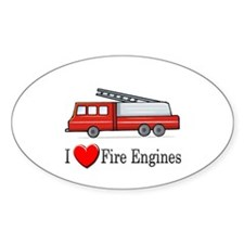 I Love Fire Engines Oval Decal