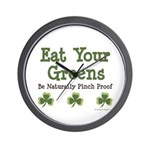 Eat Your Greens Shamrock Wall Clock
