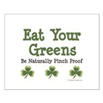 Eat Your Greens Shamrock Small Poster