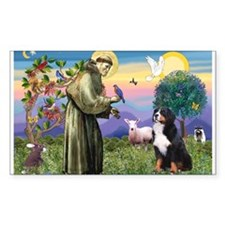 St. Francis & Bernese Rectangle Decal