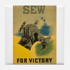 Sew For Victory - War Poster Tile Coaster