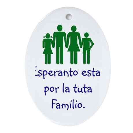 Family Language Oval Ornament