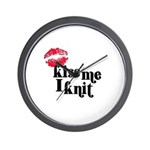 Kiss Me I Knit Wall Clock