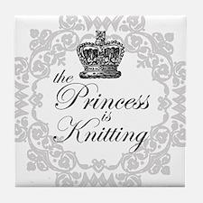The Princess is Knitting Tile Coaster