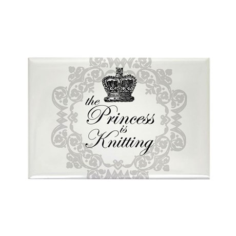 The Princess is Knitting Rectangle Magnet