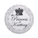 The Princess is Knitting Ornament (Round)