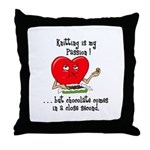 Knitting and Chocolate Throw Pillow