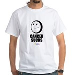 cancer sucks smerk face White T-Shirt