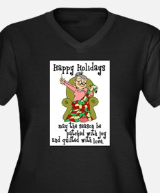 Happy Holidays - Quilter Women's Plus Size V-Neck
