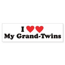 I Heart My Grand Twins - Twin Bumper Bumper Sticker