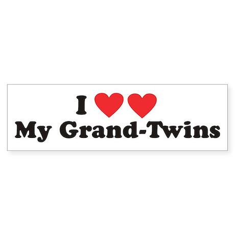 I Heart My Grand Twins - Twin Bumper Sticker