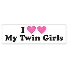 I Heart My Twin Girls - Twin Bumper Bumper Bumper Sticker