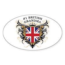 Number One British Grandma Oval Decal