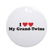 I Heart My Grand Twins -  Ornament (Round)