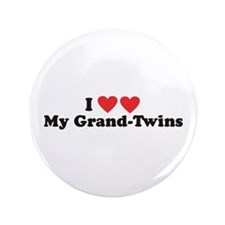 """I Heart My Grand Twins - 3.5"""" Button"""