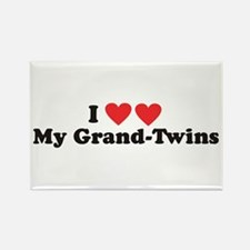 I Heart My Grand Twins - Rectangle Magnet