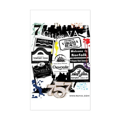 7 Cities Rectangle Sticker