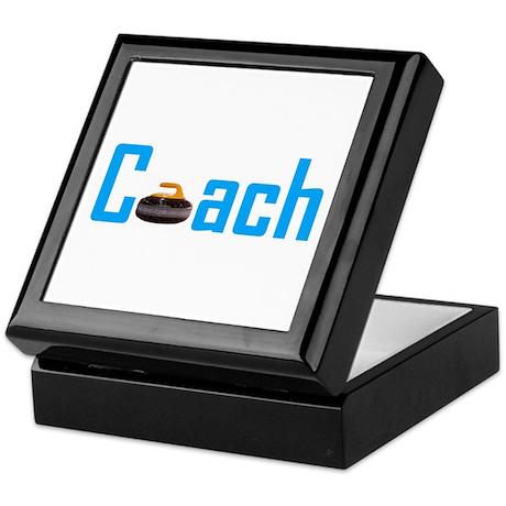 Curling Coach Light Blue Keepsake Box