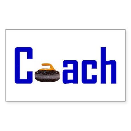 Curling Coach Blue Rectangle Sticker