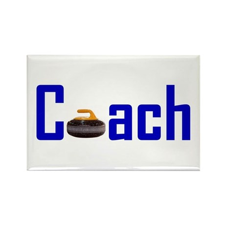 Curling Coach Blue Rectangle Magnet (100 pack)