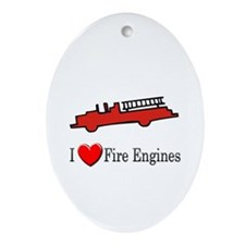 I Love Fire Engines Oval Ornament