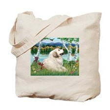 Country Birches & Great Pyrenees Tote Bag