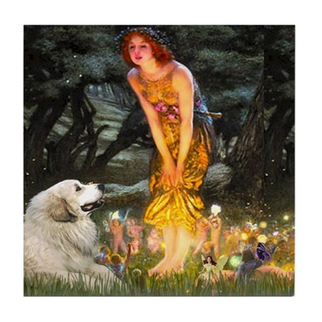 Midsummers Eve & Great Pyrenees Tile Coaster