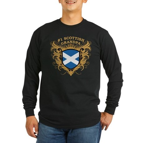 Number One Scottish Grandpa Long Sleeve Dark T-Shi