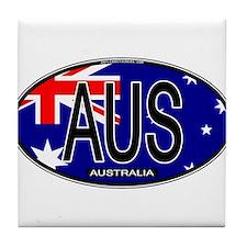 Australia Oval Colors Tile Coaster