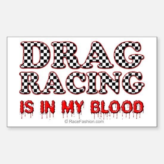 Drag Racing Blood Rectangle Decal