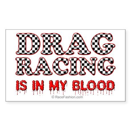 Drag Racing Blood Rectangle Sticker
