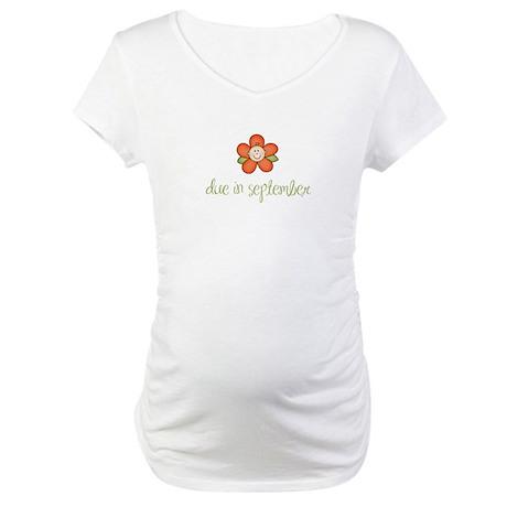 Due in September Baby Flower Maternity T-Shirt