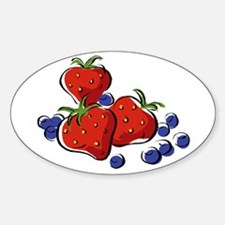 STRAWBERR & BLUEBERRY MIX Oval Decal